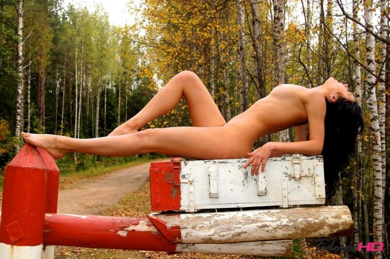 Агрономша улеглась голым телом на шлагбаум - секс порно фото
