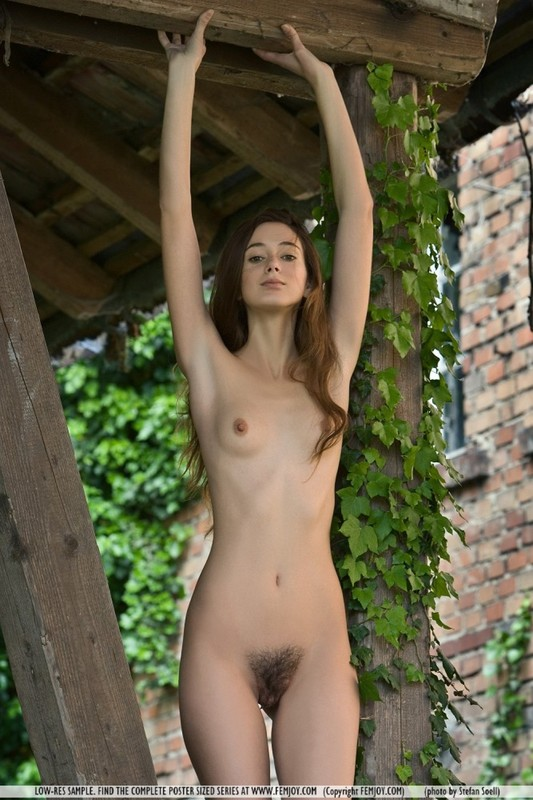 Худощавая сучка прогуливается голышом по саду - секс порно фото
